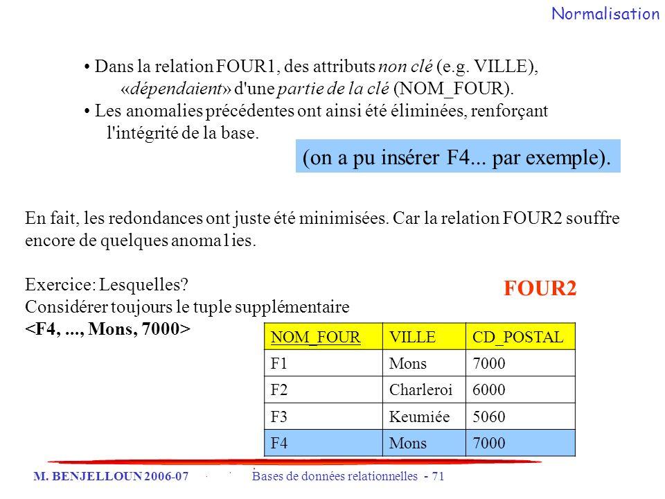 M. BENJELLOUN 2006-07 Bases de données relationnelles - 71 Dans la relation FOUR1, des attributs non clé (e.g. VILLE), «dépendaient» d'une partie de l