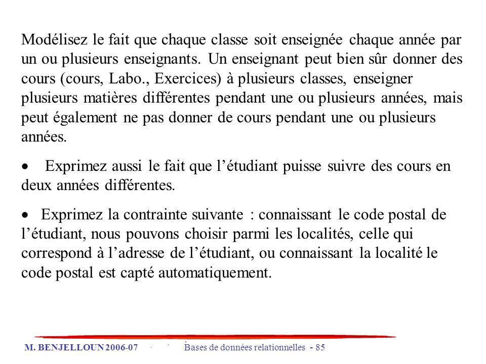 M. BENJELLOUN 2006-07 Bases de données relationnelles - 85 Modélisez le fait que chaque classe soit enseignée chaque année par un ou plusieurs enseign