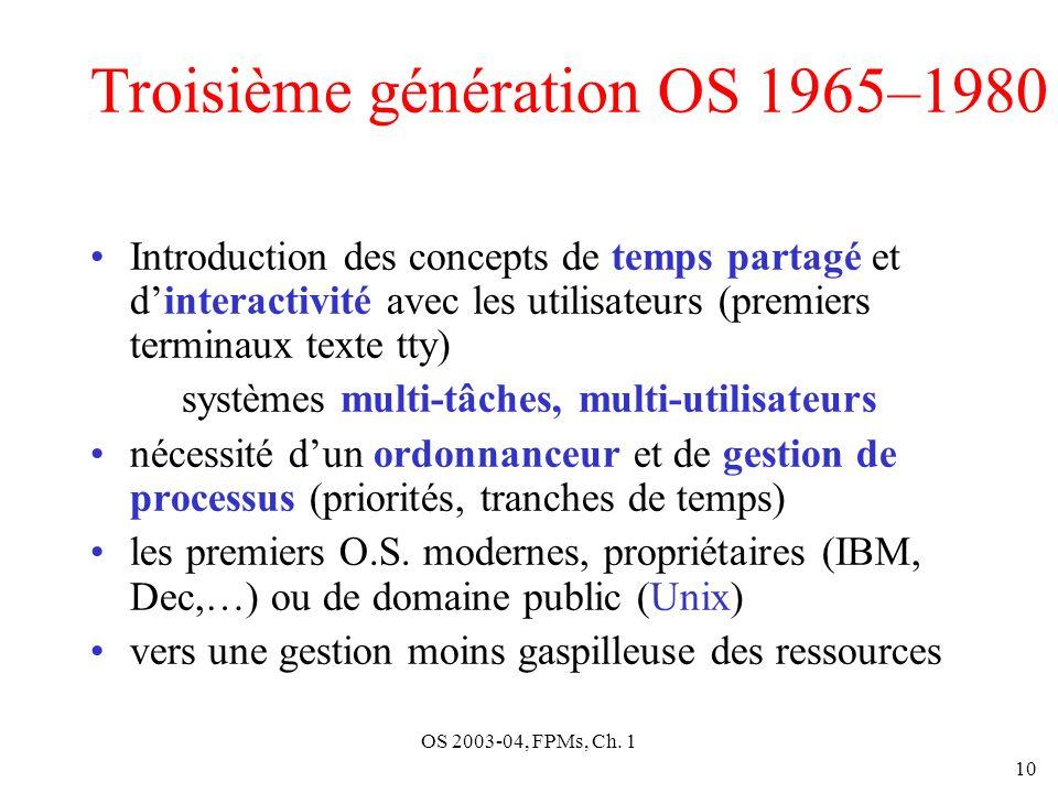 OS 2003-04, FPMs, Ch. 1 10 Troisième génération OS 1965–1980 Introduction des concepts de temps partagé et dinteractivité avec les utilisateurs (premi