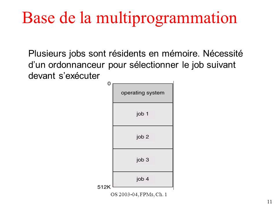OS 2003-04, FPMs, Ch. 1 11 Base de la multiprogrammation Plusieurs jobs sont résidents en mémoire. Nécessité dun ordonnanceur pour sélectionner le job