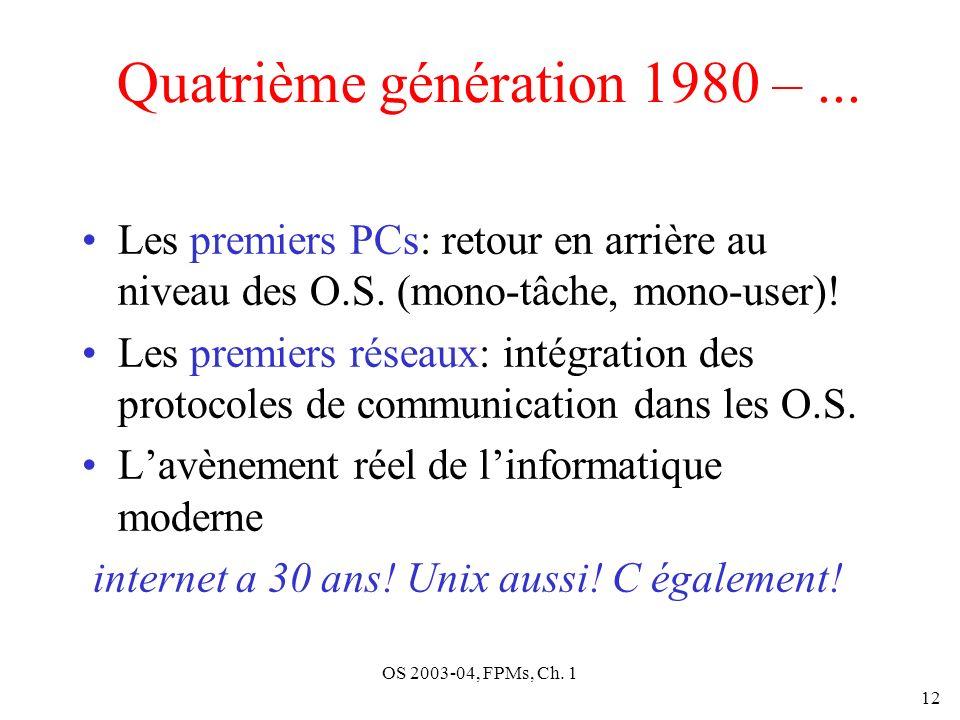 OS 2003-04, FPMs, Ch. 1 12 Quatrième génération 1980 –... Les premiers PCs: retour en arrière au niveau des O.S. (mono-tâche, mono-user)! Les premiers