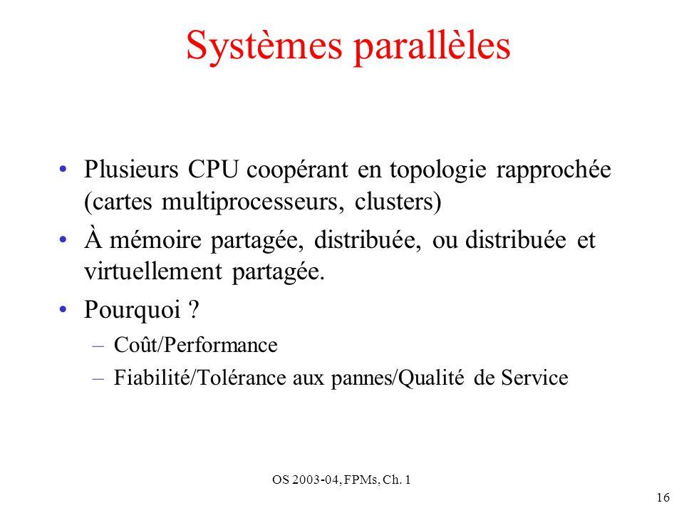 OS 2003-04, FPMs, Ch. 1 16 Systèmes parallèles Plusieurs CPU coopérant en topologie rapprochée (cartes multiprocesseurs, clusters) À mémoire partagée,