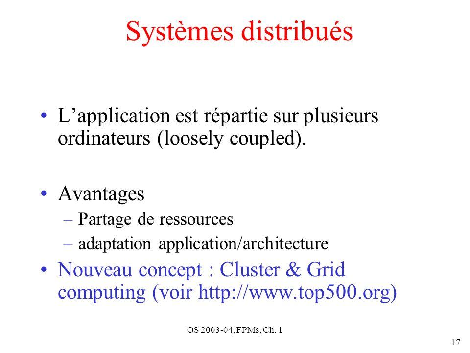 OS 2003-04, FPMs, Ch. 1 17 Systèmes distribués Lapplication est répartie sur plusieurs ordinateurs (loosely coupled). Avantages –Partage de ressources