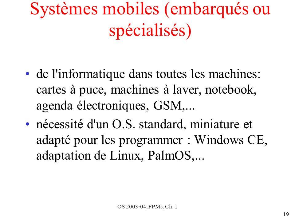 OS 2003-04, FPMs, Ch. 1 19 Systèmes mobiles (embarqués ou spécialisés) de l'informatique dans toutes les machines: cartes à puce, machines à laver, no
