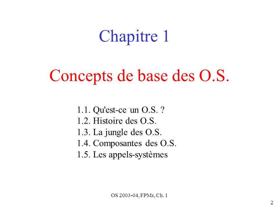 OS 2003-04, FPMs, Ch. 1 2 Concepts de base des O.S. Chapitre 1 1.1. Qu'est-ce un O.S. ? 1.2. Histoire des O.S. 1.3. La jungle des O.S. 1.4. Composante