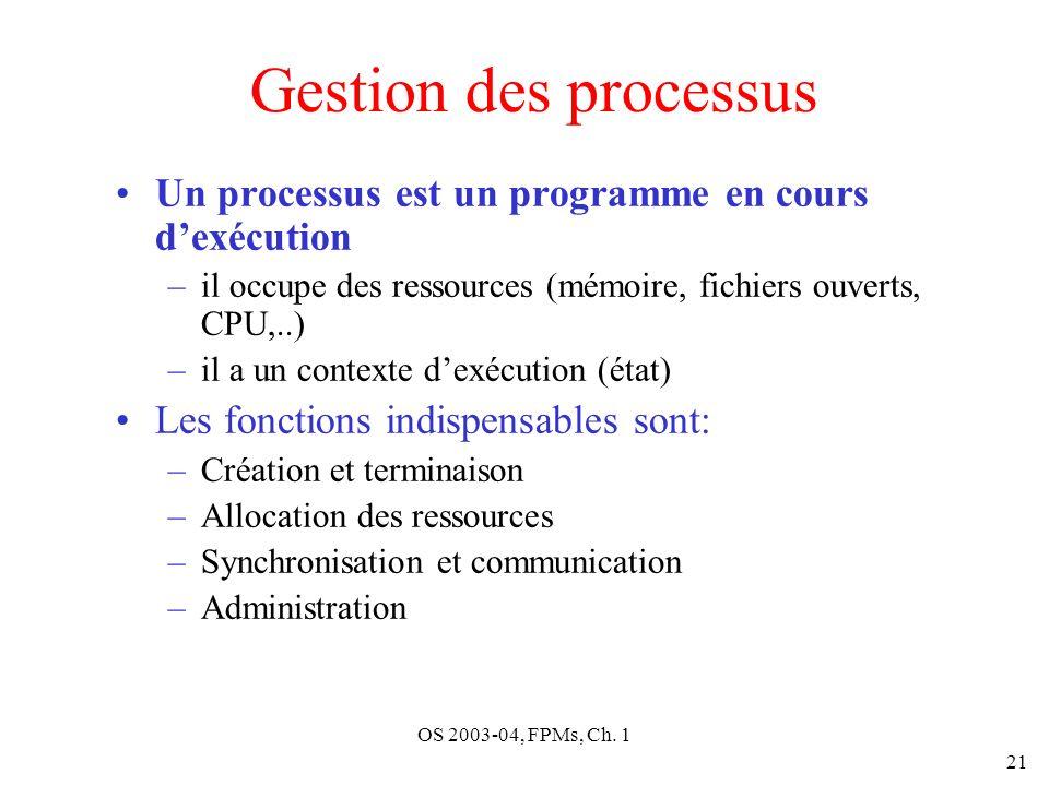 OS 2003-04, FPMs, Ch. 1 21 Gestion des processus Un processus est un programme en cours dexécution –il occupe des ressources (mémoire, fichiers ouvert