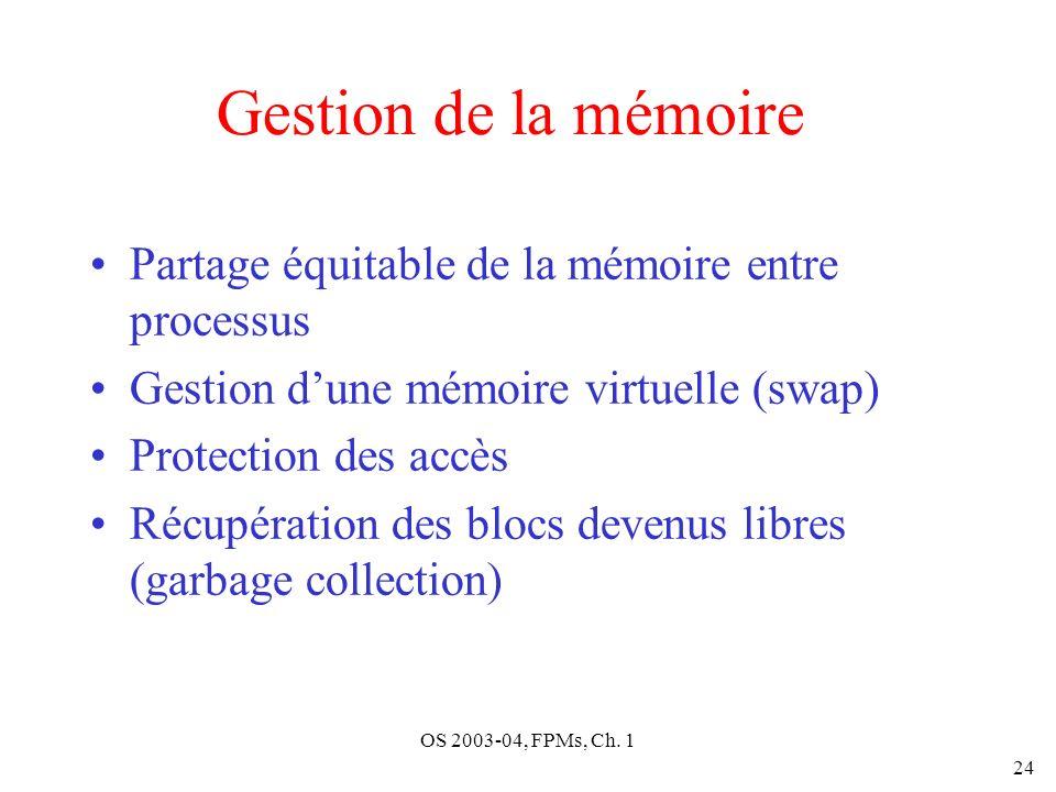 OS 2003-04, FPMs, Ch. 1 24 Gestion de la mémoire Partage équitable de la mémoire entre processus Gestion dune mémoire virtuelle (swap) Protection des