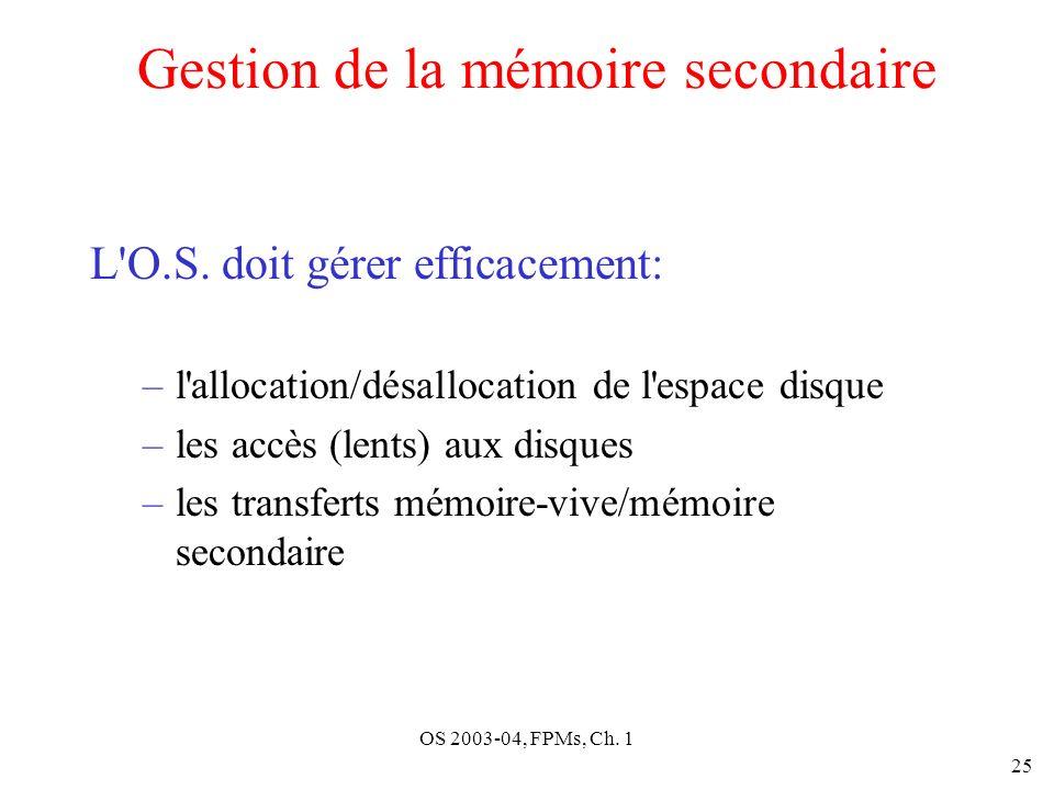 OS 2003-04, FPMs, Ch. 1 25 Gestion de la mémoire secondaire L'O.S. doit gérer efficacement: –l'allocation/désallocation de l'espace disque –les accès