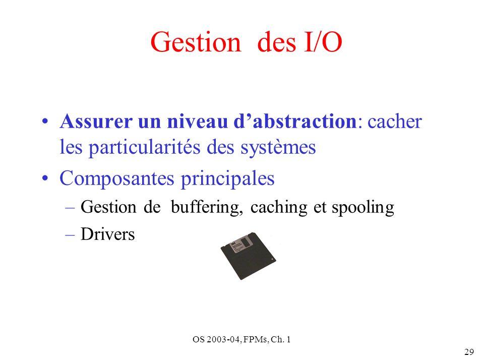 OS 2003-04, FPMs, Ch. 1 29 Gestion des I/O Assurer un niveau dabstraction: cacher les particularités des systèmes Composantes principales –Gestion de