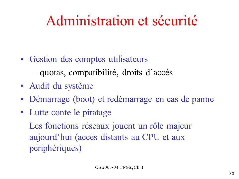 OS 2003-04, FPMs, Ch. 1 30 Administration et sécurité Gestion des comptes utilisateurs –quotas, compatibilité, droits daccès Audit du système Démarrag