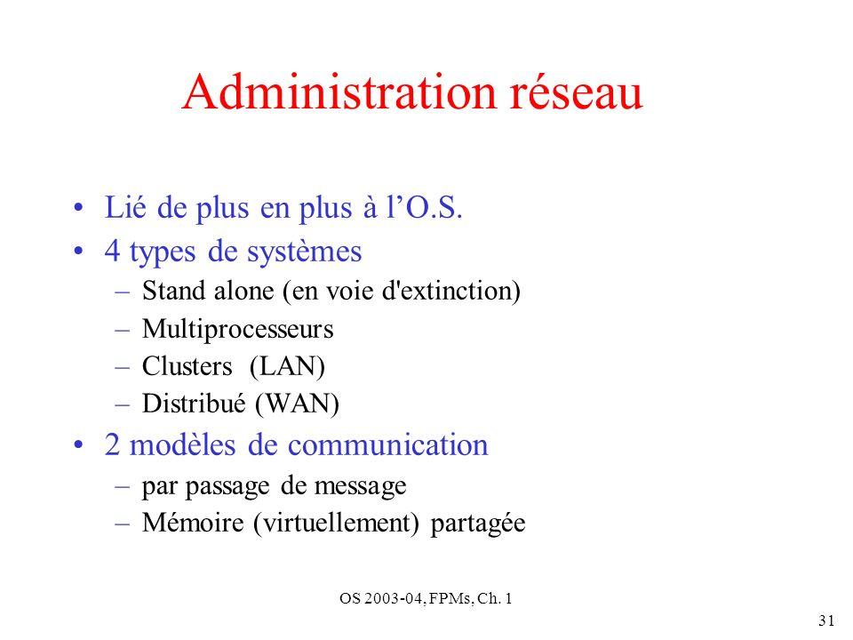 OS 2003-04, FPMs, Ch. 1 31 Administration réseau Lié de plus en plus à lO.S. 4 types de systèmes –Stand alone (en voie d'extinction) –Multiprocesseurs