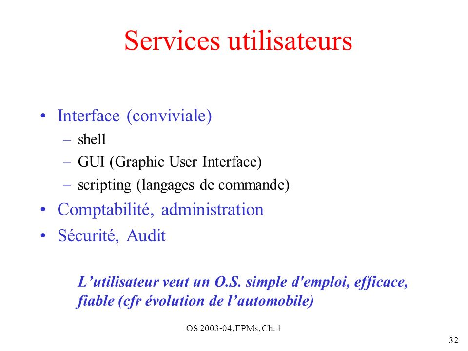 OS 2003-04, FPMs, Ch. 1 32 Services utilisateurs Interface (conviviale) –shell –GUI (Graphic User Interface) –scripting (langages de commande) Comptab