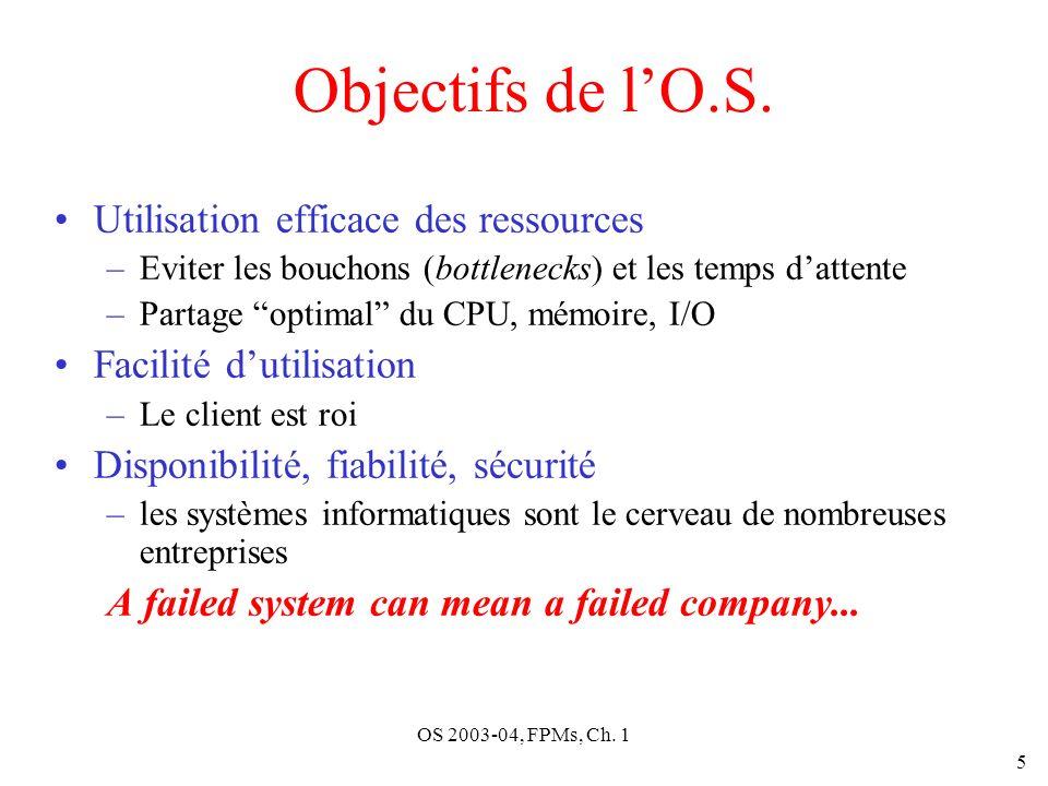 OS 2003-04, FPMs, Ch. 1 5 Objectifs de lO.S. Utilisation efficace des ressources –Eviter les bouchons (bottlenecks) et les temps dattente –Partage opt