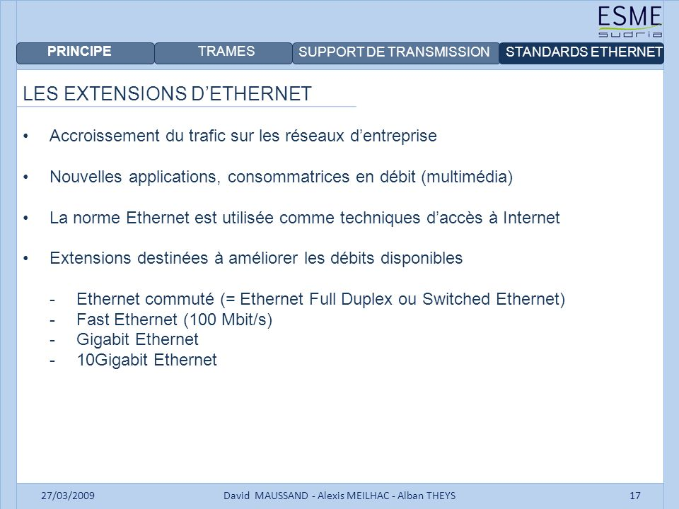 PRINCIPE TRAMES SUPPORT DE TRANSMISSIONSTANDARDS ETHERNET 27/03/2009David MAUSSAND - Alexis MEILHAC - Alban THEYS17 LES EXTENSIONS DETHERNET Accroissement du trafic sur les réseaux dentreprise Nouvelles applications, consommatrices en débit (multimédia) La norme Ethernet est utilisée comme techniques daccès à Internet Extensions destinées à améliorer les débits disponibles -Ethernet commuté (= Ethernet Full Duplex ou Switched Ethernet) -Fast Ethernet (100 Mbit/s) -Gigabit Ethernet -10Gigabit Ethernet