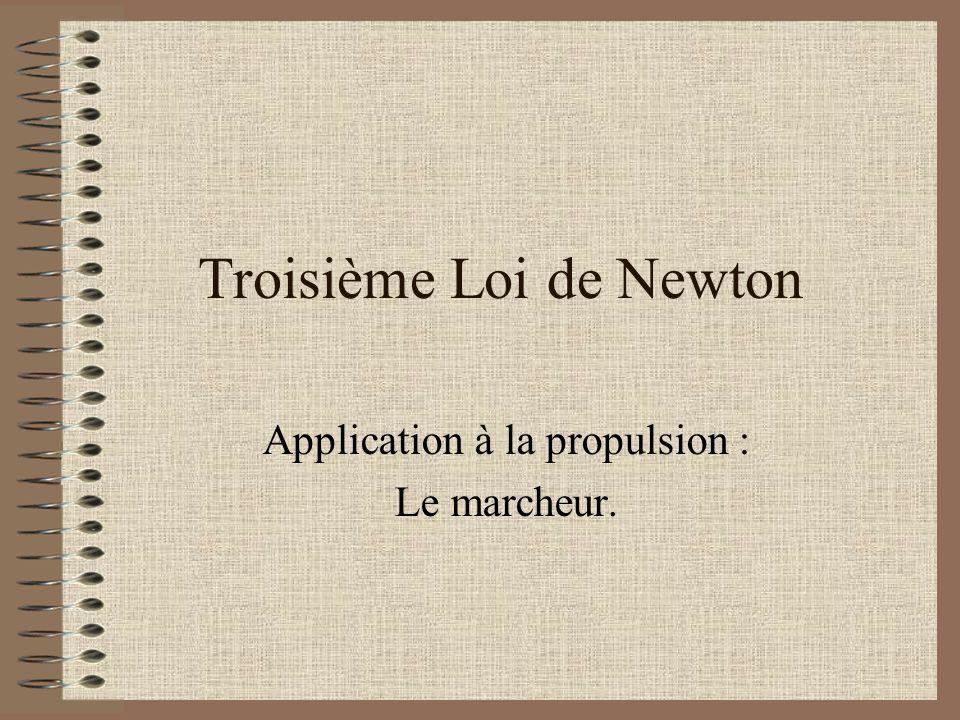 Troisième Loi de Newton Application à la propulsion : Le marcheur.