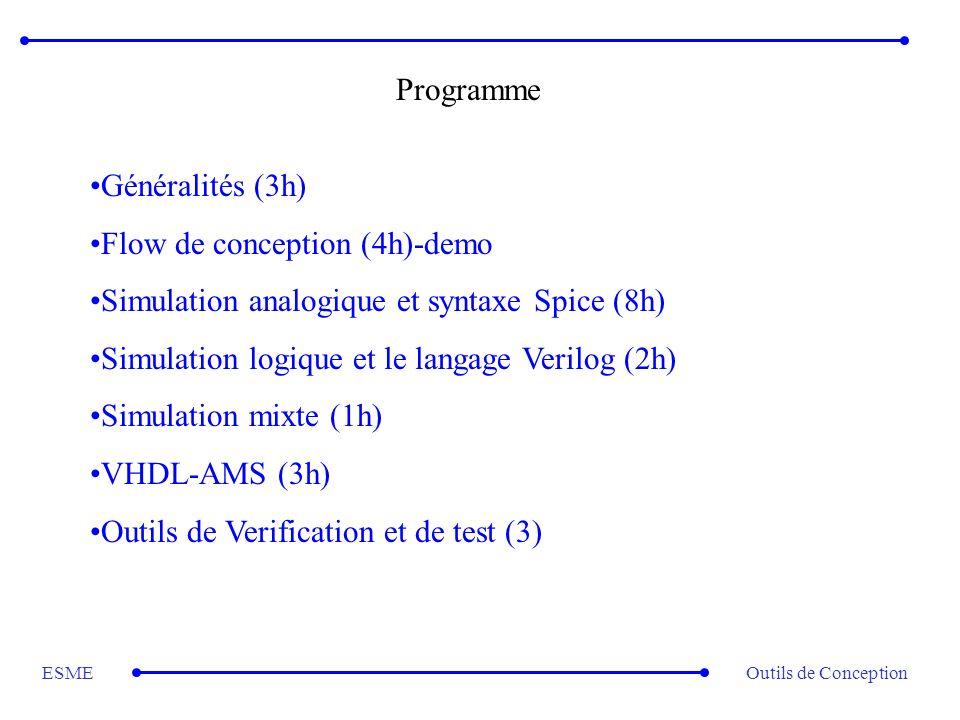 Outils de ConceptionESME Programme Généralités (3h) Flow de conception (4h)-demo Simulation analogique et syntaxe Spice (8h) Simulation logique et le