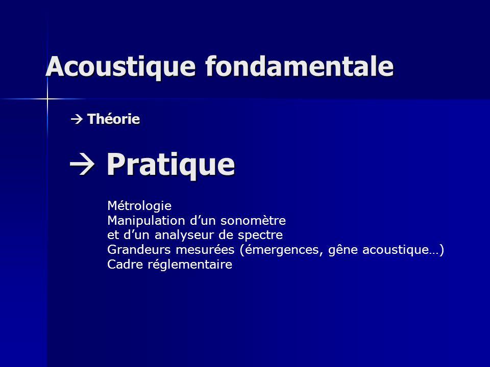 Acoustique fondamentale Théorie Théorie Pratique Pratique Métrologie Manipulation dun sonomètre et dun analyseur de spectre Grandeurs mesurées (émerge