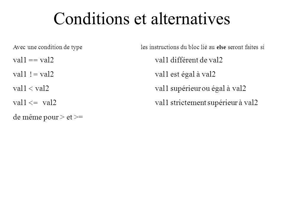 Conditions et alternatives Avec une condition de type les instructions du bloc lié au else seront faites si val1 == val2val1 différent de val2 val1 !=