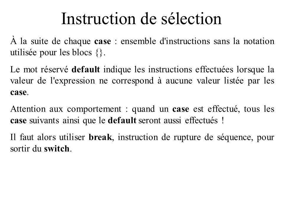 Instruction de sélection À la suite de chaque case : ensemble d'instructions sans la notation utilisée pour les blocs {}. Le mot réservé default indiq