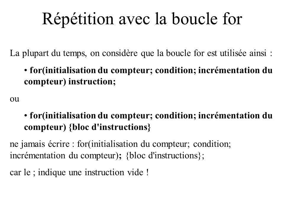 Répétition avec la boucle for La plupart du temps, on considère que la boucle for est utilisée ainsi : for(initialisation du compteur; condition; incr