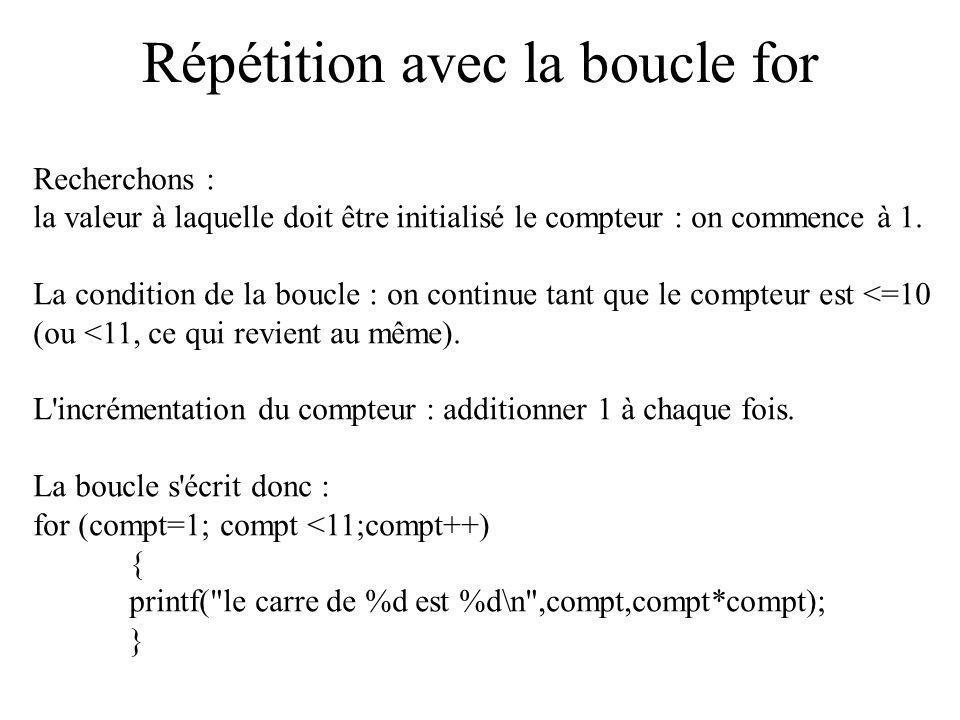 Répétition avec la boucle for Recherchons : la valeur à laquelle doit être initialisé le compteur : on commence à 1. La condition de la boucle : on co