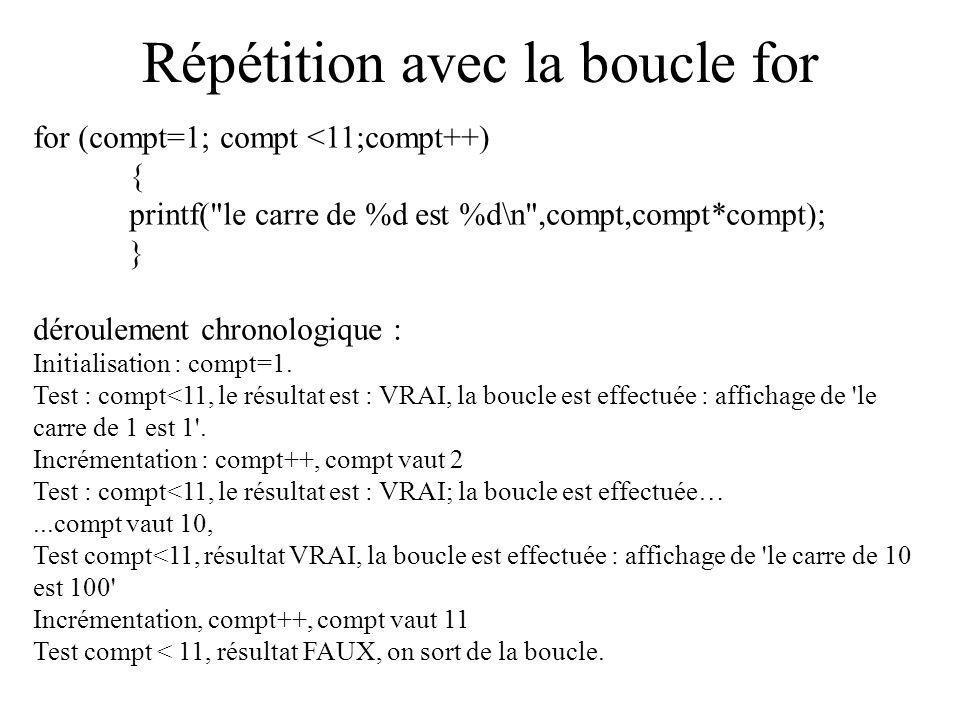 Répétition avec la boucle for for (compt=1; compt <11;compt++) { printf(