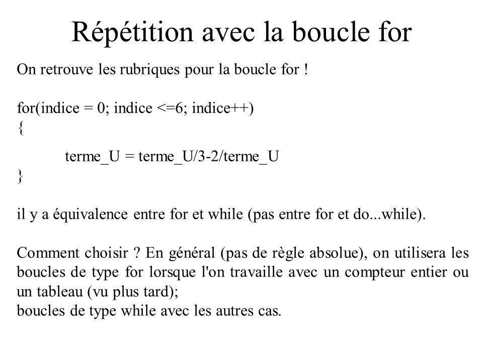 Répétition avec la boucle for On retrouve les rubriques pour la boucle for ! for(indice = 0; indice <=6; indice++) { terme_U = terme_U/3-2/terme_U } i