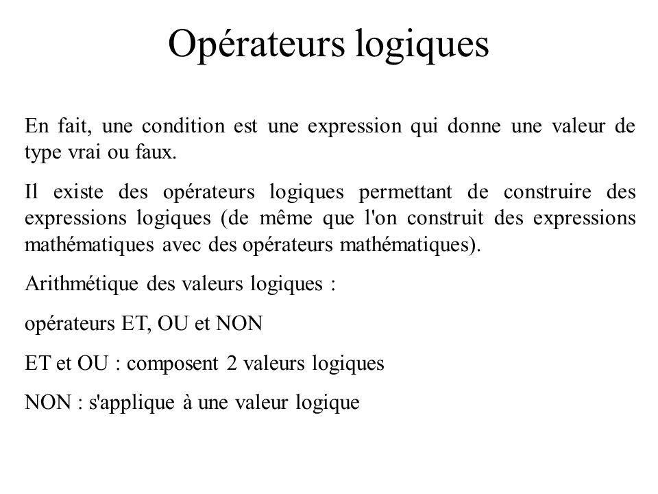Instruction de sélection Exemple 1 : sans utiliser break (suite).