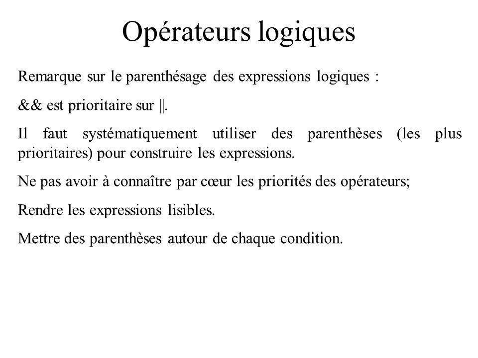 Opérateurs logiques Remarque sur le parenthésage des expressions logiques : && est prioritaire sur ||. Il faut systématiquement utiliser des parenthès