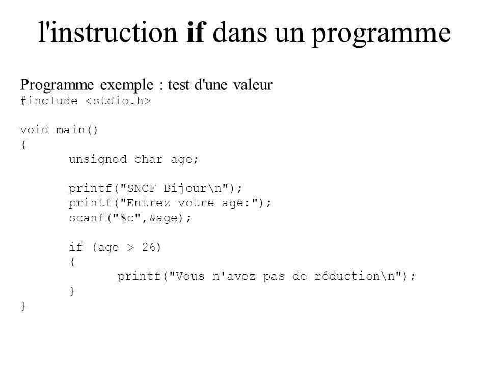 l instruction if dans un programme Programme exemple : test d une valeur #include void main() { unsigned char age; printf( SNCF Bijour\n ); printf( Entrez votre age: ); scanf( %c ,&age); if (age > 26) { printf( Vous n avez pas de réduction\n ); }