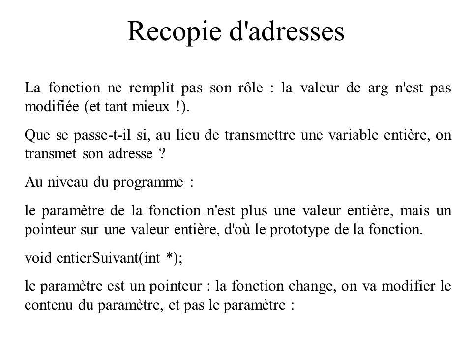 Recopie d adresses void entierSuivant(int *par) { *par = (*par)+1; } l appel change : on doit transmettre une adresse, l adresse de arg : void main() { int arg; arg=4; entierSuivant(&arg); /* que vaut arg maintenant .