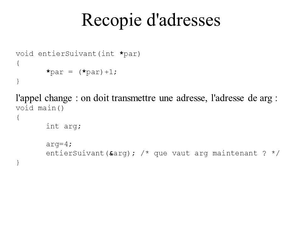 Recopie d'adresses void entierSuivant(int *par) { *par = (*par)+1; } l'appel change : on doit transmettre une adresse, l'adresse de arg : void main()