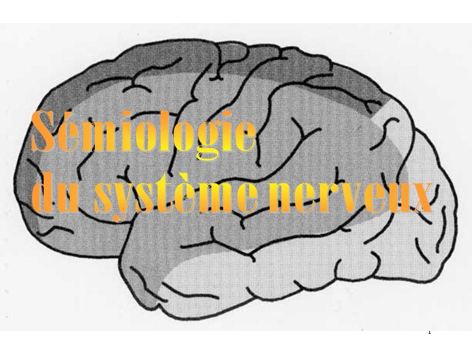 2 La sémiologie neurologique La sémiologie neurologique est l étude des symptômes et des signes des maladies conséquences des lésions du système nerveux.