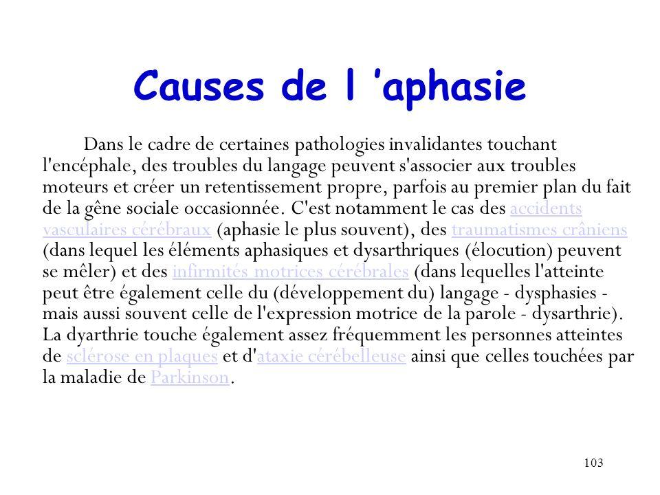 103 Causes de l aphasie Dans le cadre de certaines pathologies invalidantes touchant l'encéphale, des troubles du langage peuvent s'associer aux troub