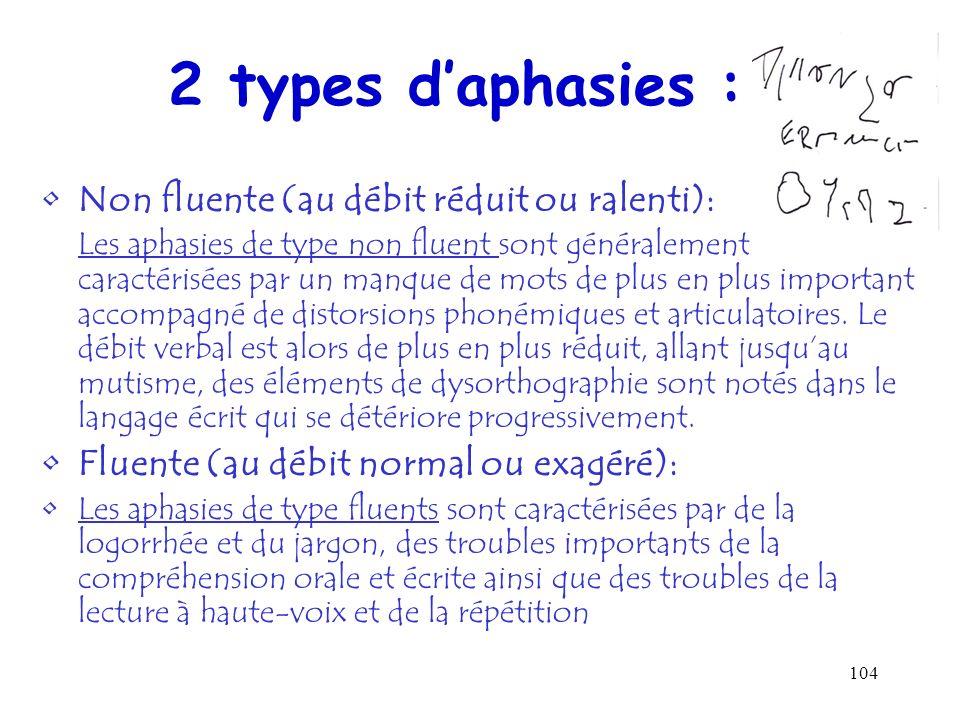104 2 types daphasies : Non fluente (au débit réduit ou ralenti): Les aphasies de type non fluent sont généralement caractérisées par un manque de mot