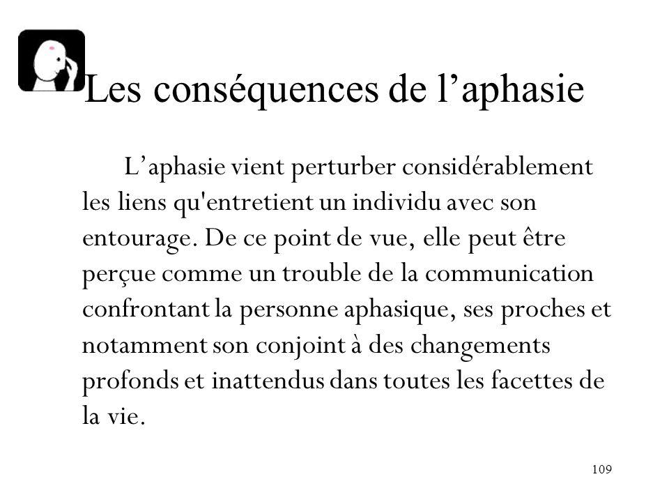 109 Les conséquences de laphasie Laphasie vient perturber considérablement les liens qu'entretient un individu avec son entourage. De ce point de vue,