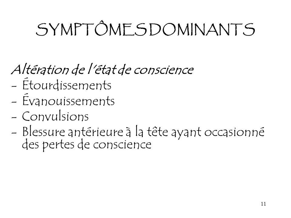 11 SYMPTÔMES DOMINANTS Altération de l'état de conscience -Étourdissements -Évanouissements -Convulsions -Blessure antérieure à la tête ayant occasion
