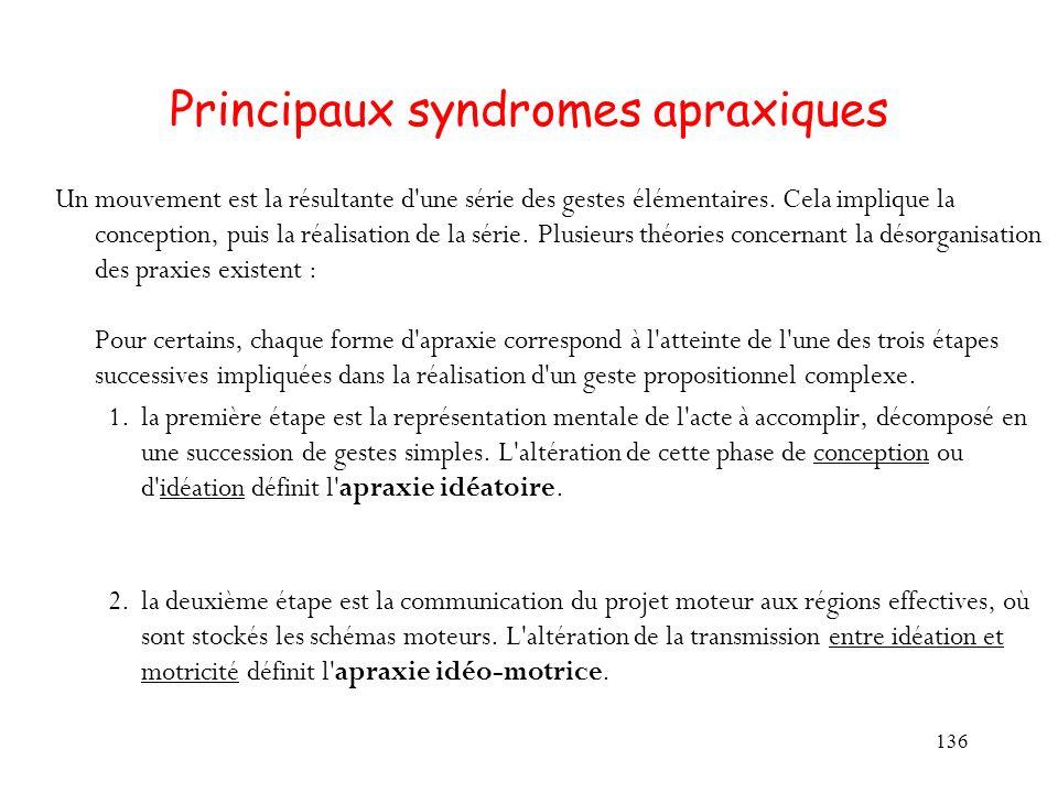 136 Principaux syndromes apraxiques Un mouvement est la résultante d'une série des gestes élémentaires. Cela implique la conception, puis la réalisati