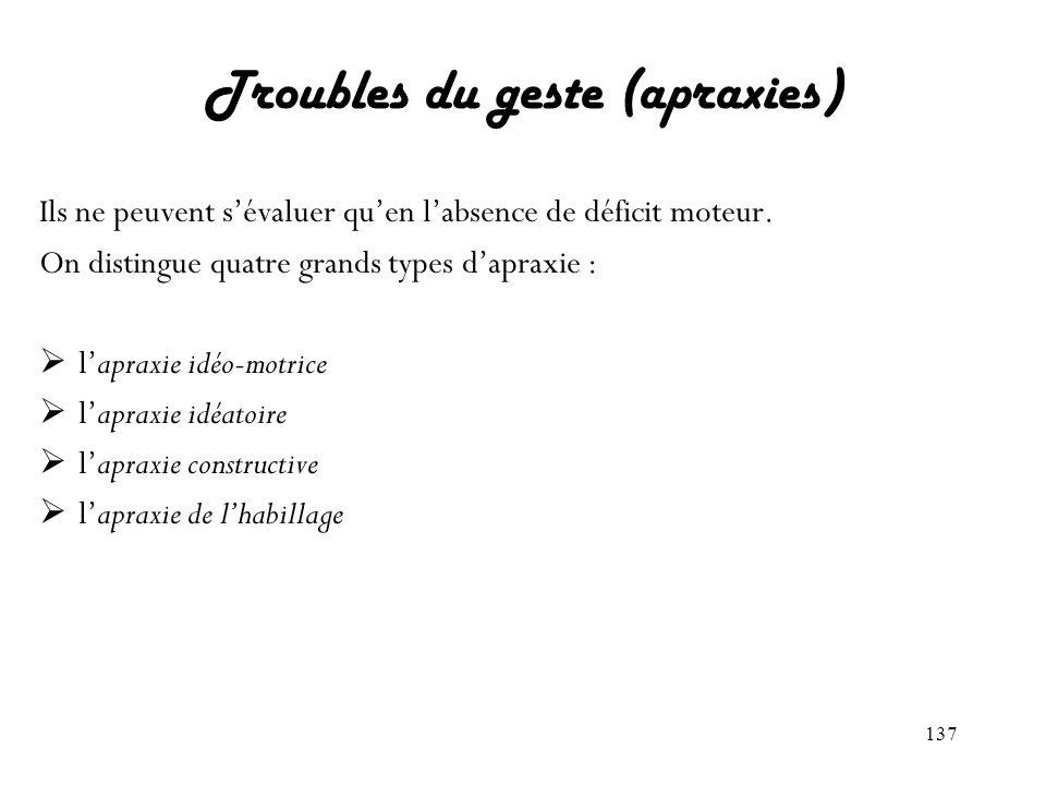 137 Troubles du geste (apraxies) Ils ne peuvent sévaluer quen labsence de déficit moteur. On distingue quatre grands types dapraxie : lapraxie idéo-mo
