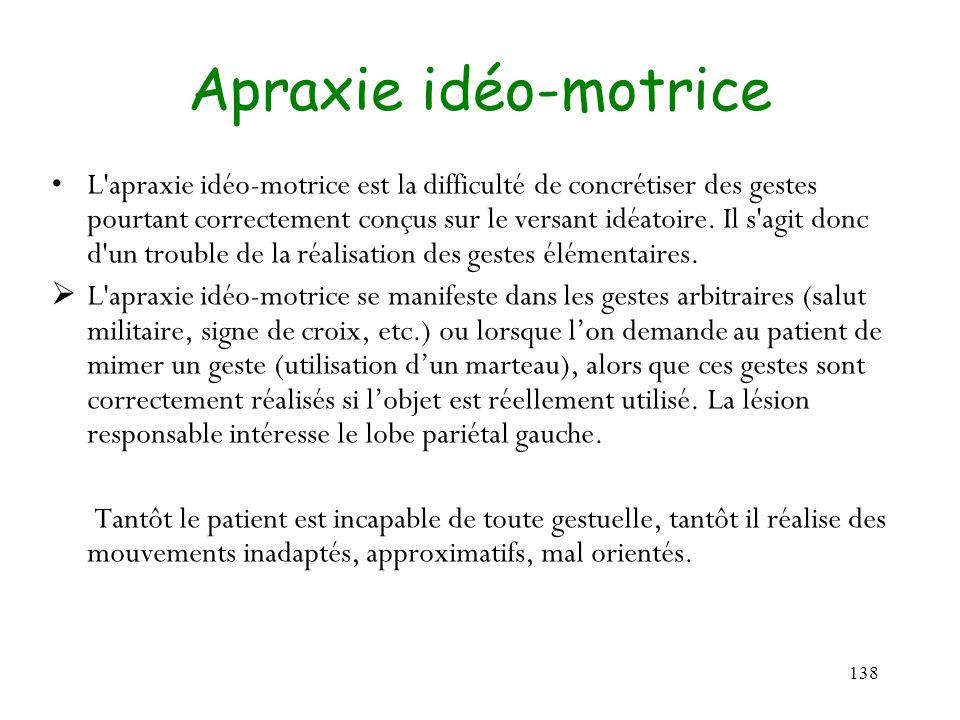 138 Apraxie idéo-motrice L'apraxie idéo-motrice est la difficulté de concrétiser des gestes pourtant correctement conçus sur le versant idéatoire. Il