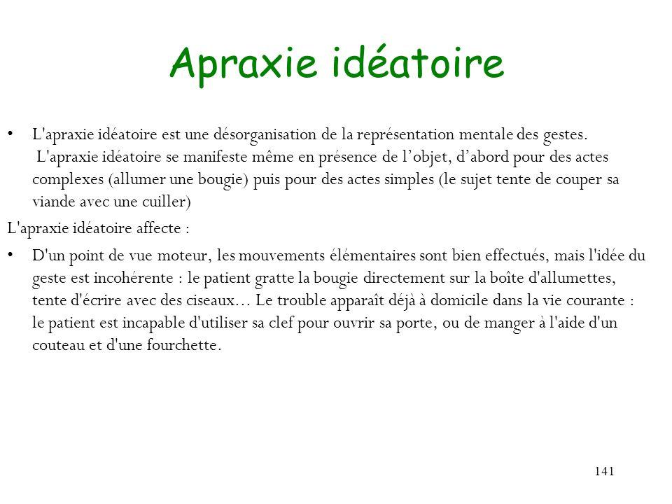 141 Apraxie idéatoire L'apraxie idéatoire est une désorganisation de la représentation mentale des gestes. L'apraxie idéatoire se manifeste même en pr
