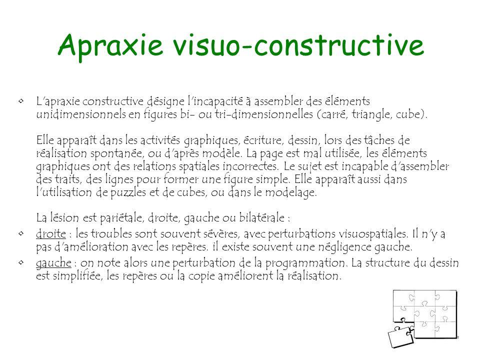 143 Apraxie visuo-constructive L'apraxie constructive désigne l'incapacité à assembler des éléments unidimensionnels en figures bi- ou tri-dimensionne