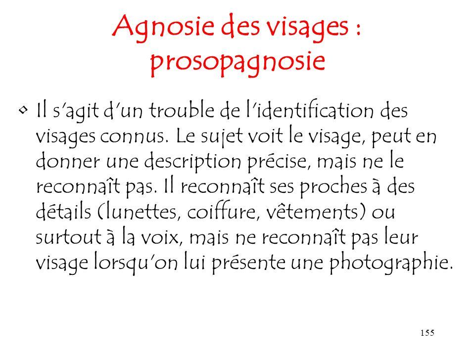 155 Agnosie des visages : prosopagnosie Il s'agit d'un trouble de l'identification des visages connus. Le sujet voit le visage, peut en donner une des