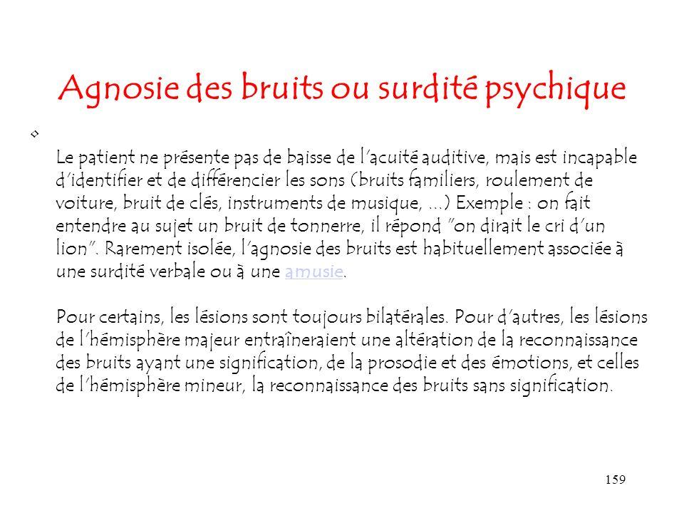159 Agnosie des bruits ou surdité psychique Le patient ne présente pas de baisse de l'acuité auditive, mais est incapable d'identifier et de différenc
