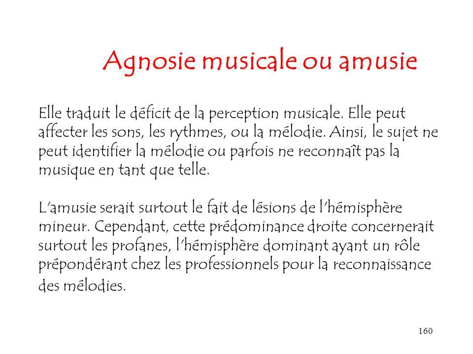 160 Agnosie musicale ou amusie Elle traduit le déficit de la perception musicale. Elle peut affecter les sons, les rythmes, ou la mélodie. Ainsi, le s