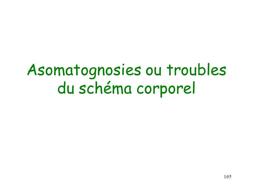 165 Asomatognosies ou troubles du schéma corporel