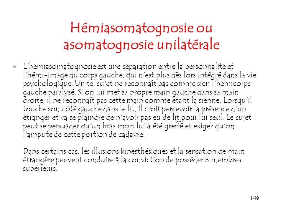 169 Hémiasomatognosie ou asomatognosie unilatérale L'hémiasomatognosie est une séparation entre la personnalité et l'hémi-image du corps gauche, qui n