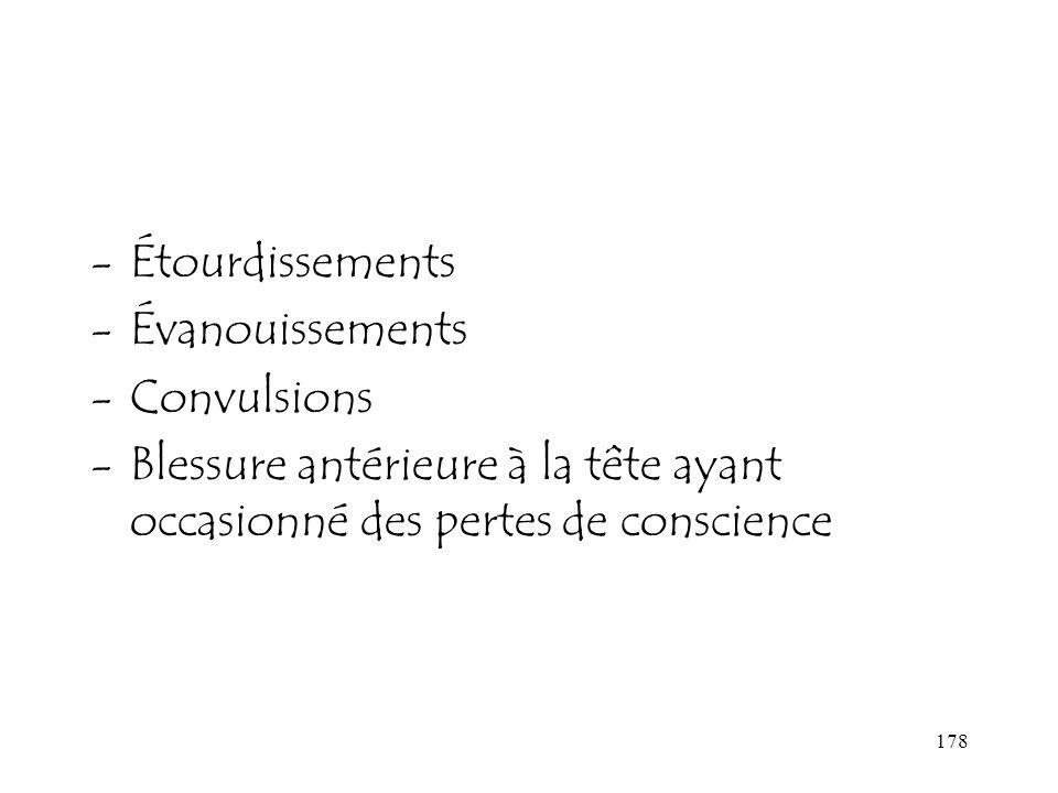 178 -Étourdissements -Évanouissements -Convulsions -Blessure antérieure à la tête ayant occasionné des pertes de conscience