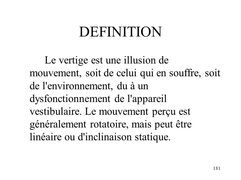 181 DEFINITION Le vertige est une illusion de mouvement, soit de celui qui en souffre, soit de l'environnement, du à un dysfonctionnement de l'apparei