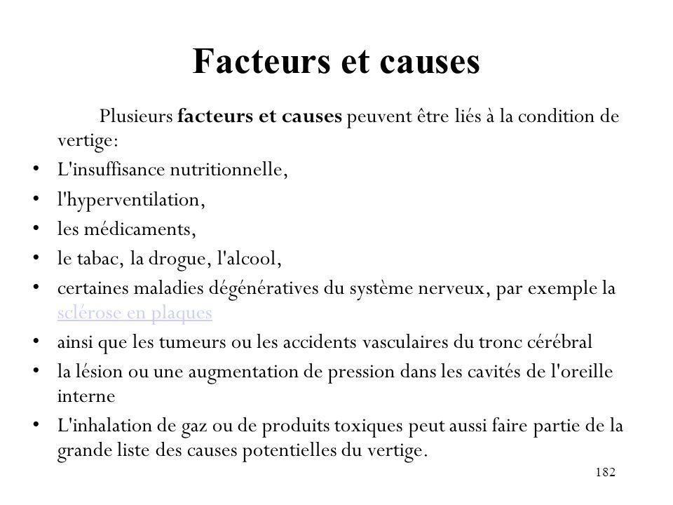 182 Facteurs et causes Plusieurs facteurs et causes peuvent être liés à la condition de vertige: L'insuffisance nutritionnelle, l'hyperventilation, le